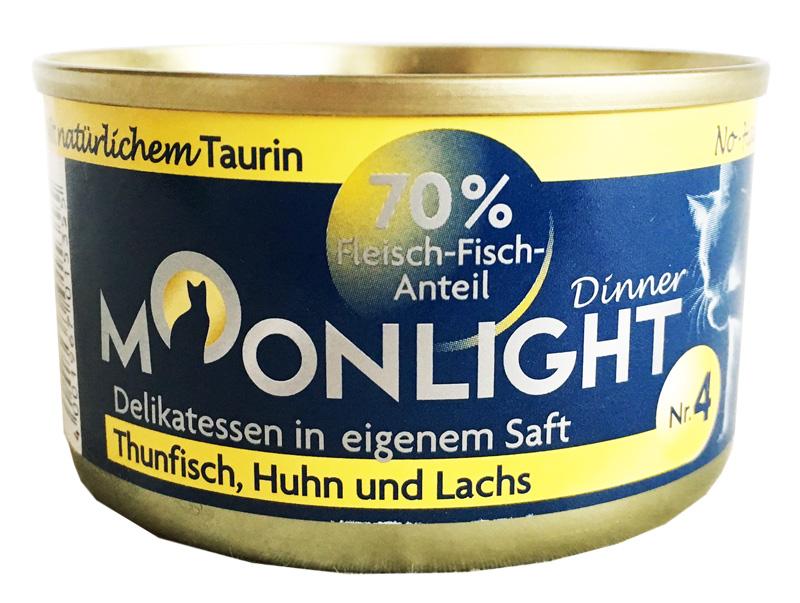 Karma mokra dla kota Moonlight Dinner 4 - Tuńczyk, Kurczak i Łosoś