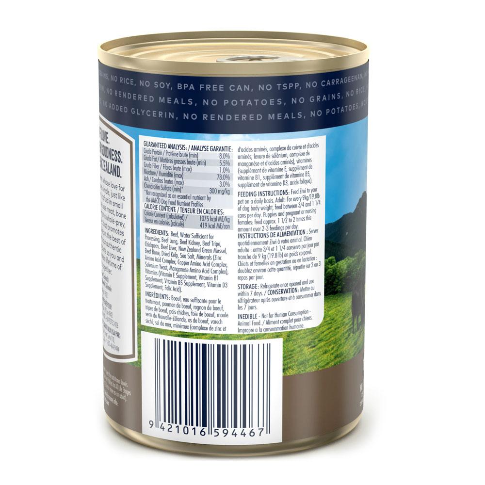 Karma mokra dla psa Ziwi Peak Dog Beef - Wołowina puszka 390g tył